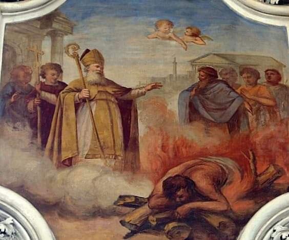 San Leone che fa bruciare il mago Eliodoro