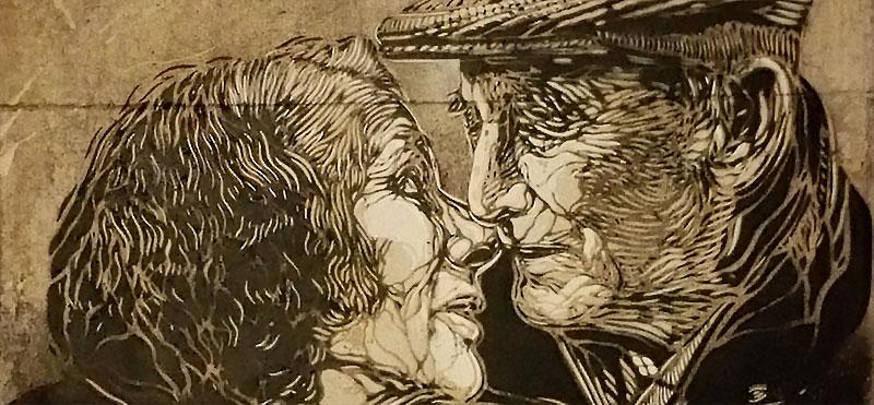Due anziani che si baciano. Murales di Guèmy. Catania